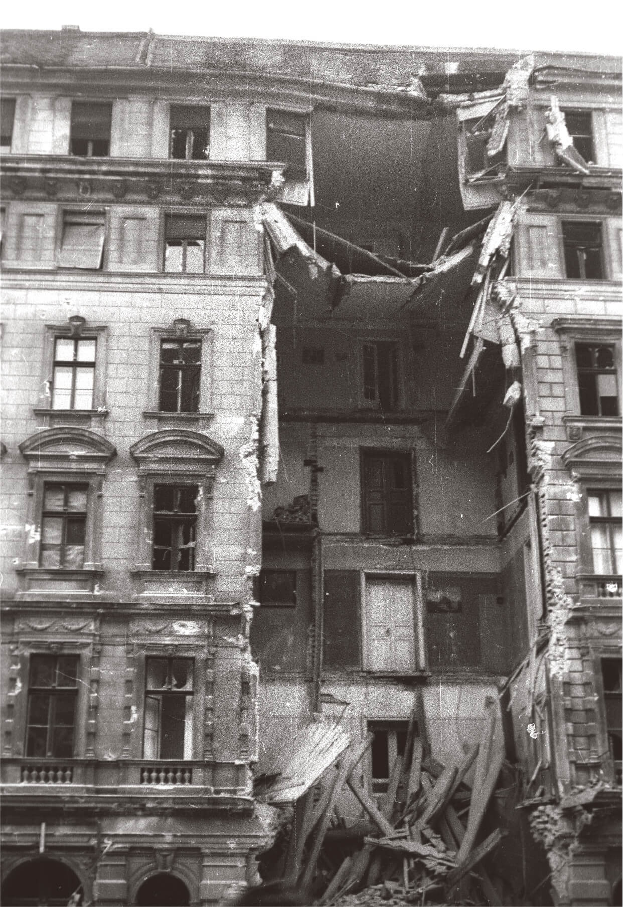Bombed Budapest building in 1956