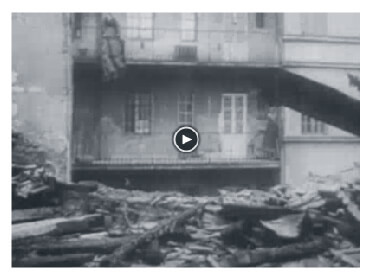 Looped video footage showing Budapest devastation caused by Soviet tanks
