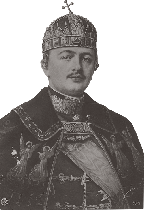 Hungarian King Charles IV wearing the Holy Crown of Hungary in 1916