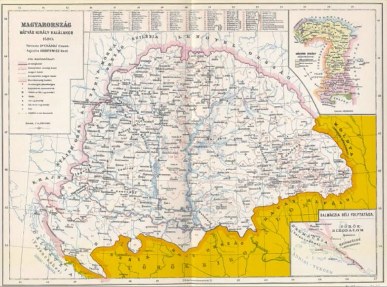 1490 map of depicting the Turkish invasion of Hungary