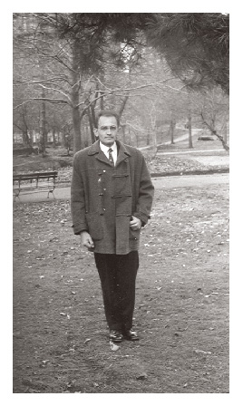 Gyula Fábos on the grounds of Rutgers University in 1957