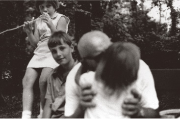 Pista kisses his granddaughter Bettina with Laci and Anita looking on in 1970