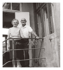 Gizi and Pista stand on the back stairs of their Keszthely house on 7 Hunyádi St. in 1976.