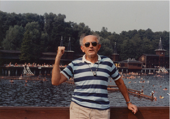 Gyula gestures towards the Héviz thermal lake in 1980